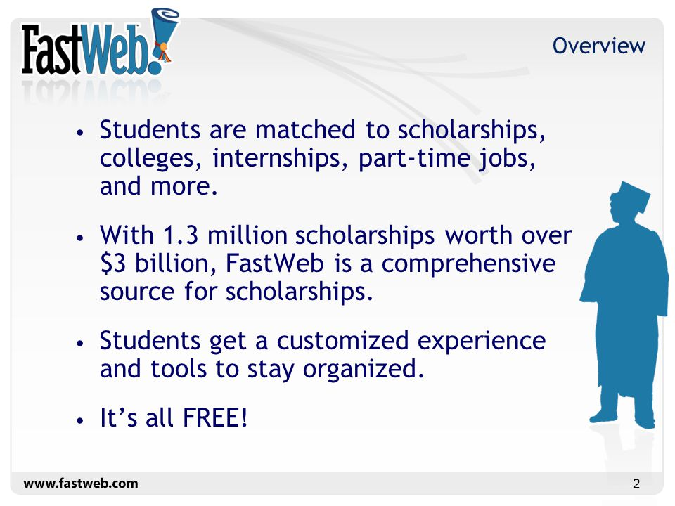1 FastWeb Free Tools to Help Students Pay for College  - ppt