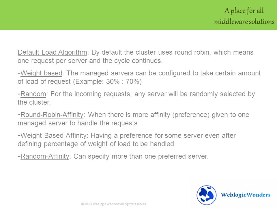 Default Load Algorithm: By default the cluster uses round robin, which means one request per server and the cycle continues.