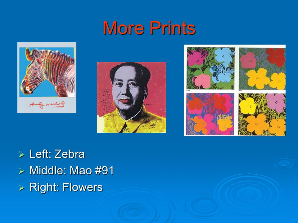 More Prints  Left: Zebra  Middle: Mao #91  Right: Flowers