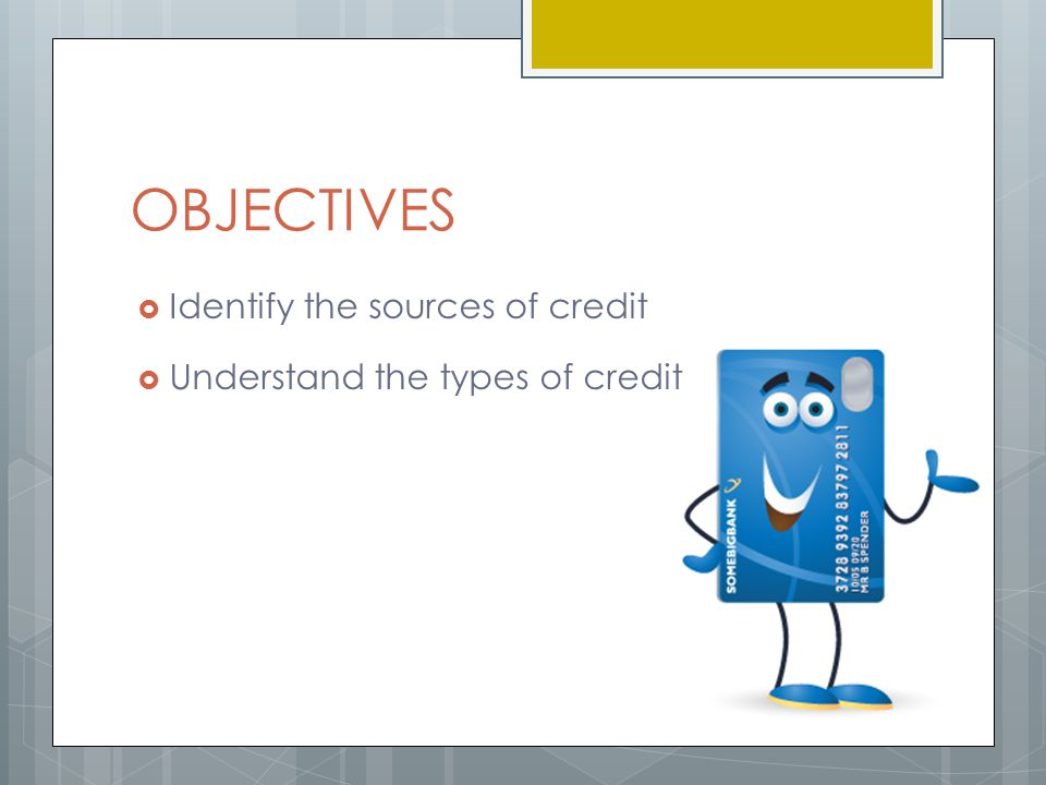 OBJECTIVES  Identify the sources of credit  Understand the types of credit