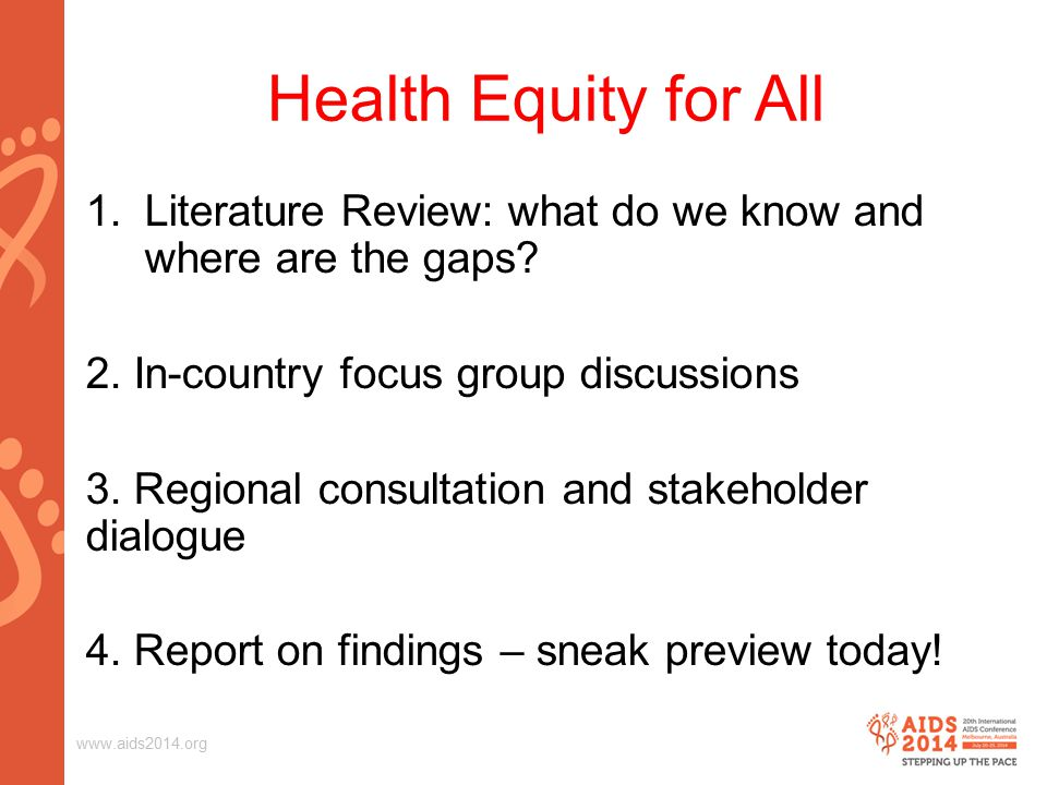Health Equity for All 1.Literature Review: what do we know and where are the gaps.