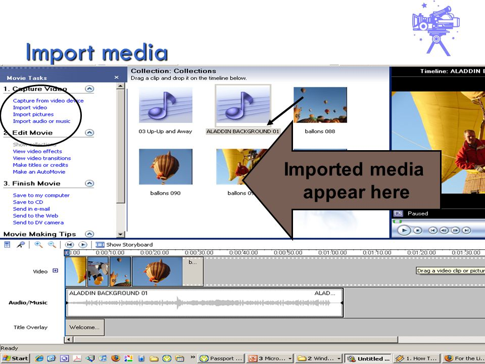 Import media Imported media appear here