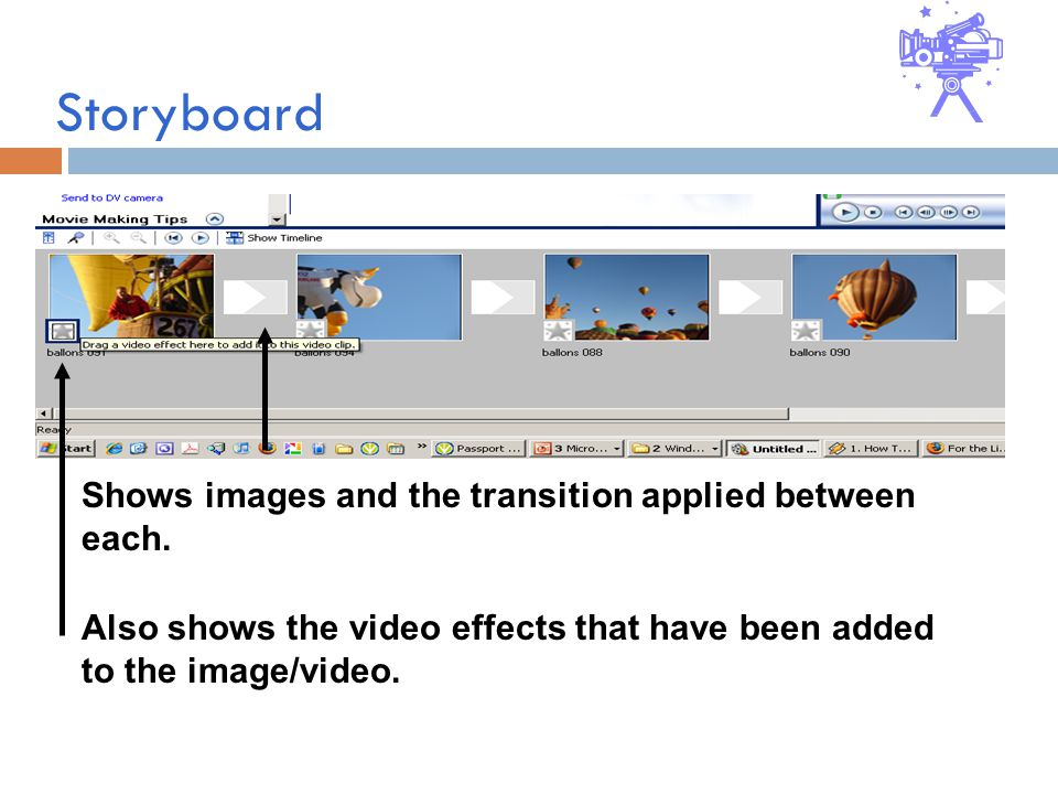 Storyboard Shows images and the transition applied between each.