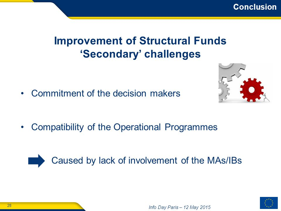 28 Info Day Paris – 12 May 2015 Improvement of Structural Funds 'Secondary' challenges Commitment of the decision makers Compatibility of the Operational Programmes Caused by lack of involvement of the MAs/IBs Conclusion