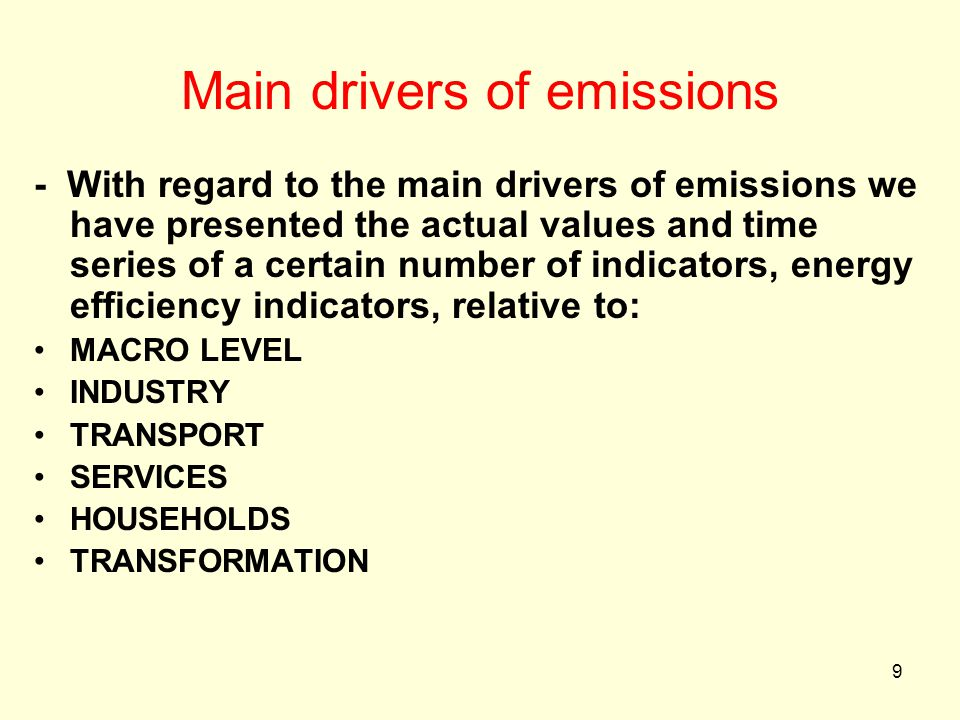 9 Main drivers of emissions - With regard to the main drivers of emissions we have presented the actual values and time series of a certain number of indicators, energy efficiency indicators, relative to: MACRO LEVEL INDUSTRY TRANSPORT SERVICES HOUSEHOLDS TRANSFORMATION