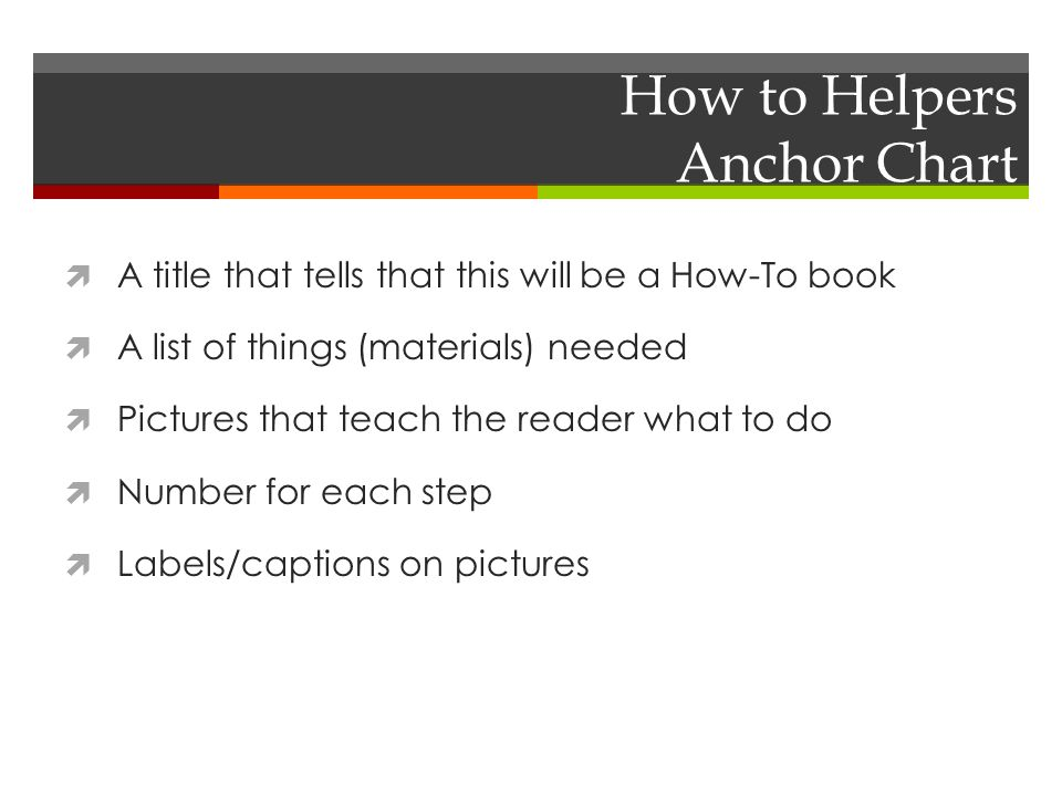 How to Helpers Anchor Chart  A title that tells that this will be a How-To book  A list of things (materials) needed  Pictures that teach the reader what to do  Number for each step  Labels/captions on pictures