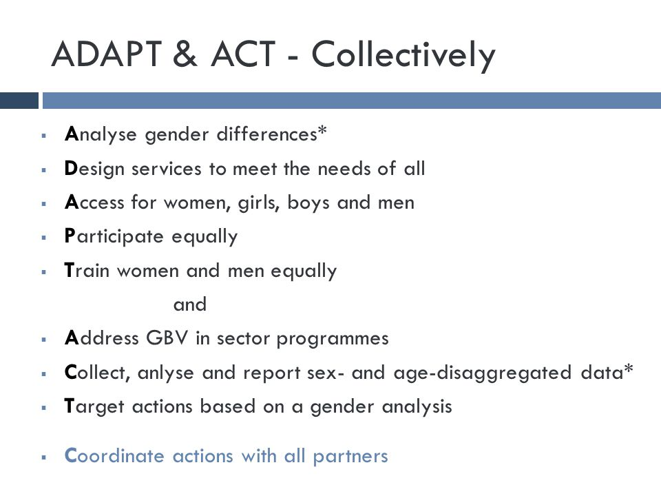 ADAPT & ACT - Collectively  Analyse gender differences*  Design services to meet the needs of all  Access for women, girls, boys and men  Participate equally  Train women and men equally and  Address GBV in sector programmes  Collect, anlyse and report sex- and age-disaggregated data*  Target actions based on a gender analysis  Coordinate actions with all partners