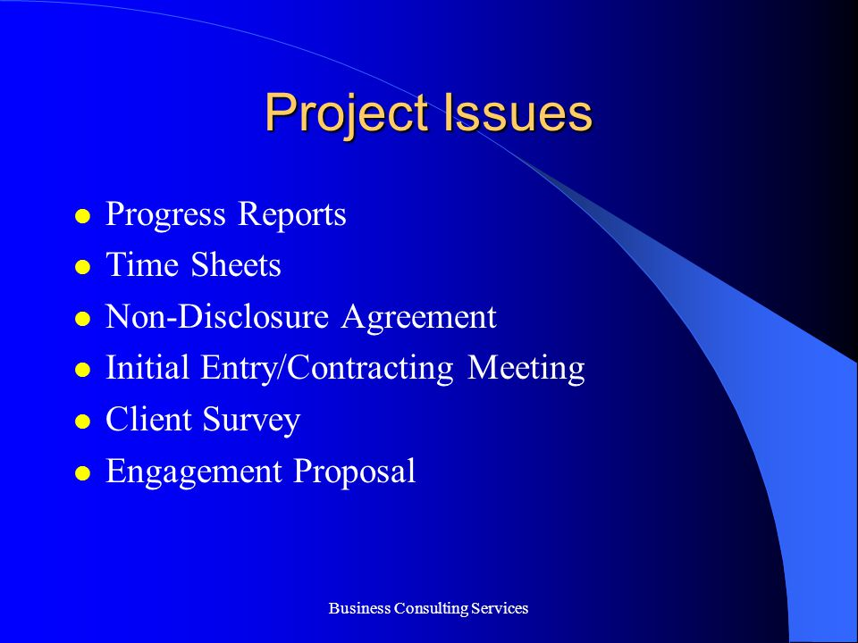 Business Consulting Services Agenda Discussion Initial