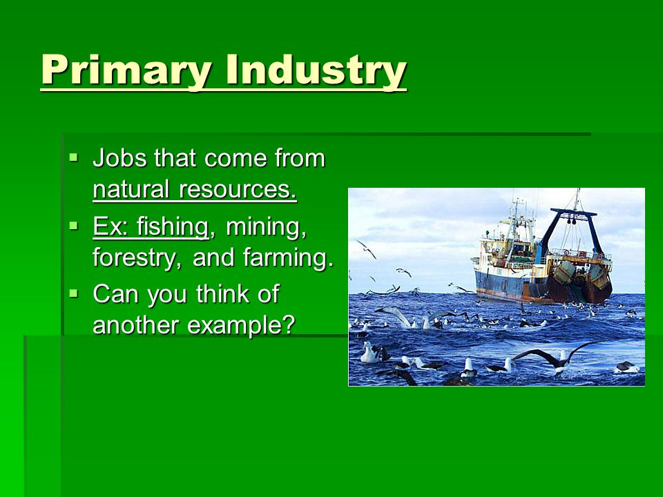 Primary Industry  Jobs that come from natural resources.
