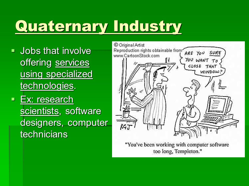Quaternary Industry  Jobs that involve offering services using specialized technologies.
