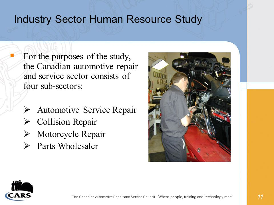 11 The Canadian Automotive Repair and Service Council – Where people, training and technology meet Industry Sector Human Resource Study  For the purposes of the study, the Canadian automotive repair and service sector consists of four sub-sectors:  Automotive Service Repair  Collision Repair  Motorcycle Repair  Parts Wholesaler
