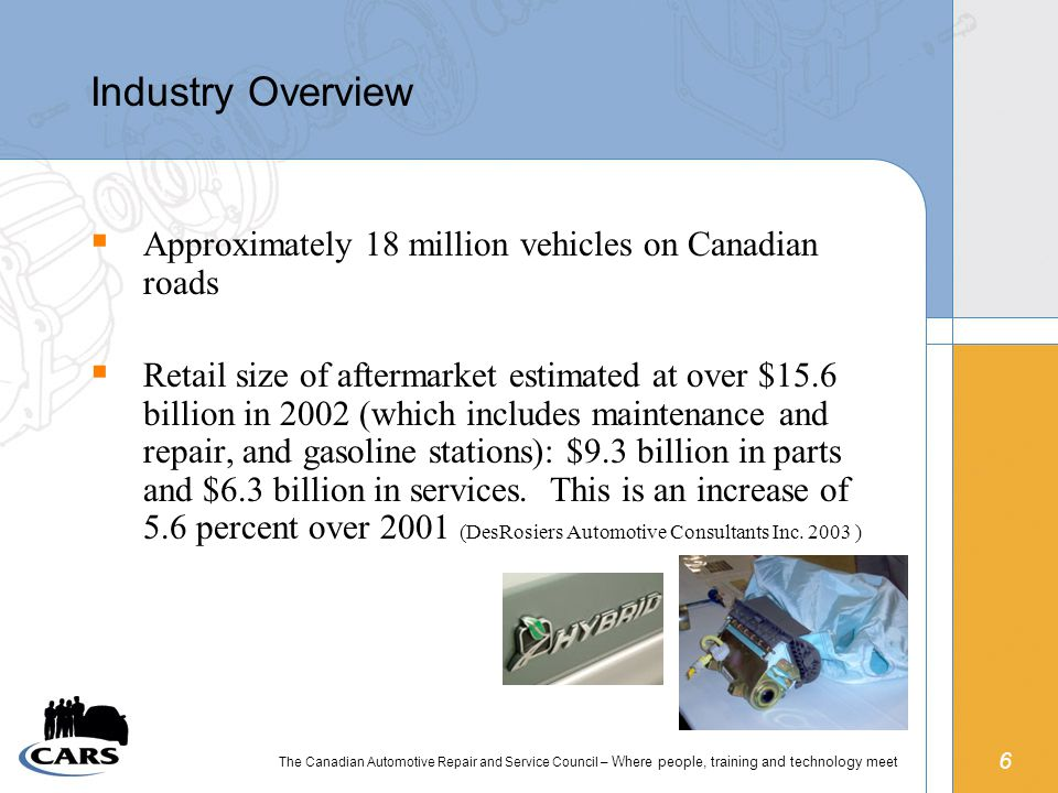 6 The Canadian Automotive Repair and Service Council – Where people, training and technology meet Industry Overview  Approximately 18 million vehicles on Canadian roads  Retail size of aftermarket estimated at over $15.6 billion in 2002 (which includes maintenance and repair, and gasoline stations): $9.3 billion in parts and $6.3 billion in services.