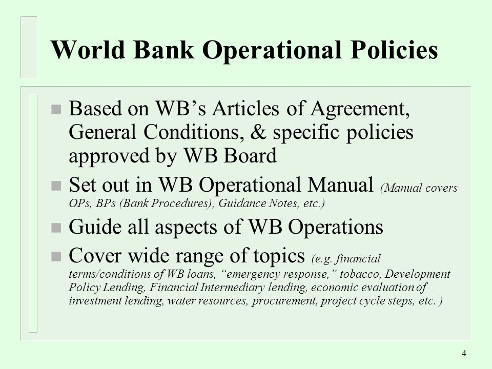 1 The World Bank Safeguard Policies An Overview Dushanbe