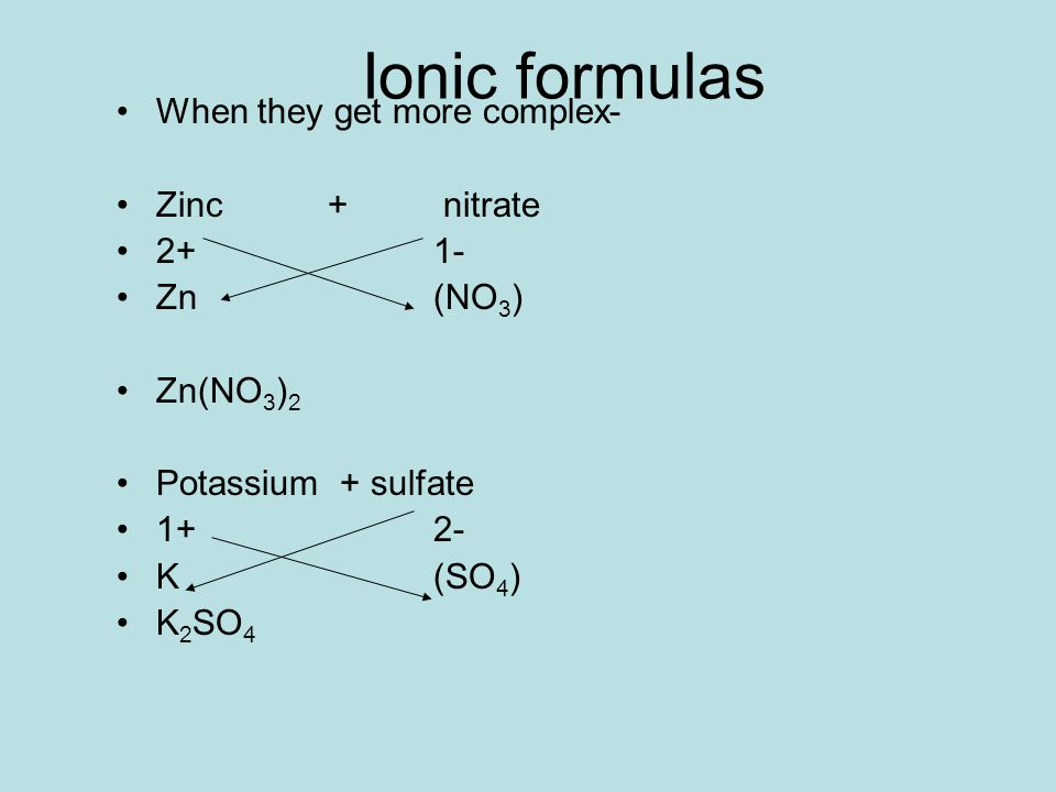 Ionic formulas When they get more complex- Zinc + nitrate 2+1- Zn(NO 3 ) Zn(NO 3 ) 2 Potassium + sulfate 1+2- K(SO 4 ) K 2 SO 4