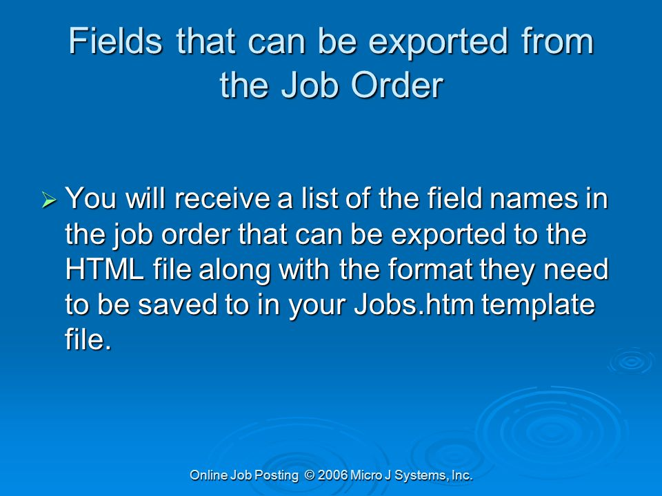 posting job orders online creating html files from job orders and