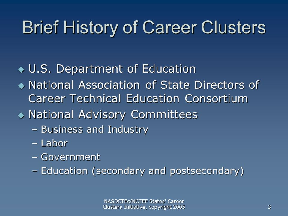 NASDCTEc/NCTEF States Career Clusters Initiative, copyright Brief History of Career Clusters  U.S.