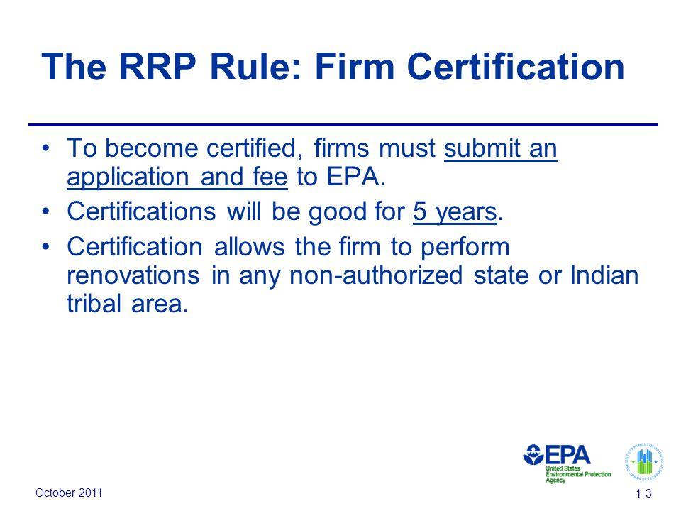 October Module 1 Regulations The Rrp Rule Addresses Activities
