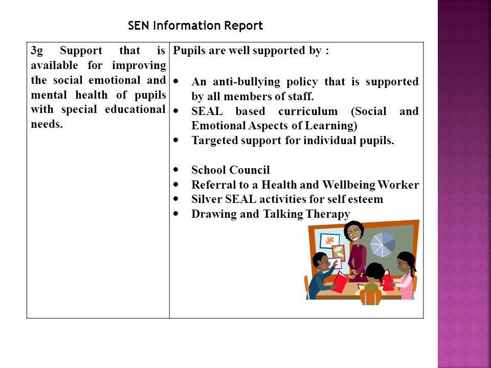 3g Support that is available for improving the social emotional and mental health of pupils with special educational needs.