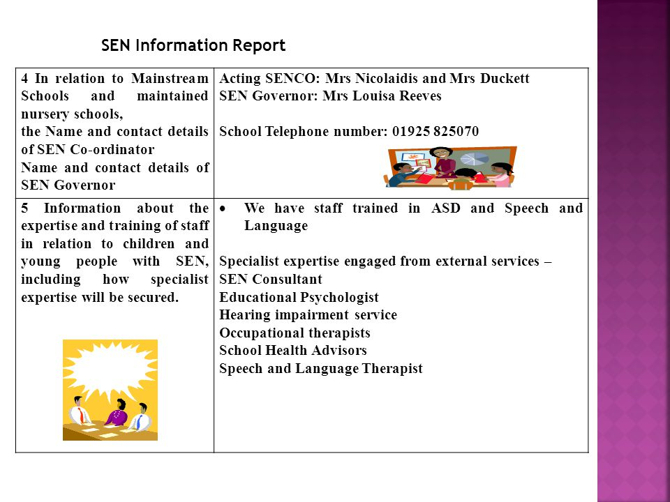 4 In relation to Mainstream Schools and maintained nursery schools, the Name and contact details of SEN Co-ordinator Name and contact details of SEN Governor Acting SENCO: Mrs Nicolaidis and Mrs Duckett SEN Governor: Mrs Louisa Reeves School Telephone number: Information about the expertise and training of staff in relation to children and young people with SEN, including how specialist expertise will be secured.