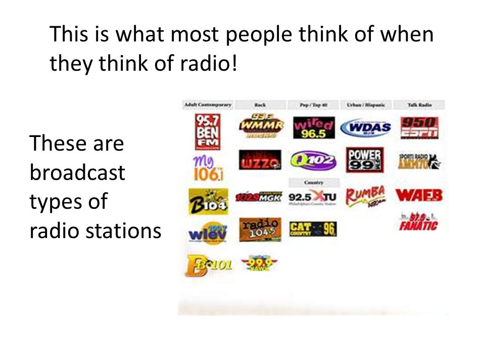 This is what most people think of when they think of radio.