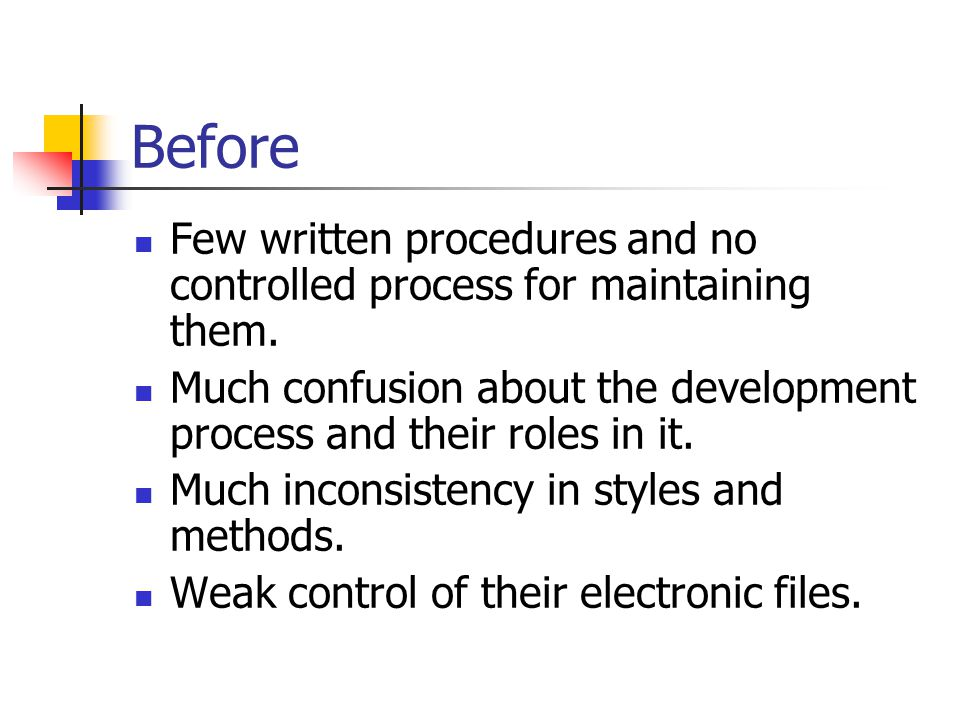 Before Few written procedures and no controlled process for maintaining them.