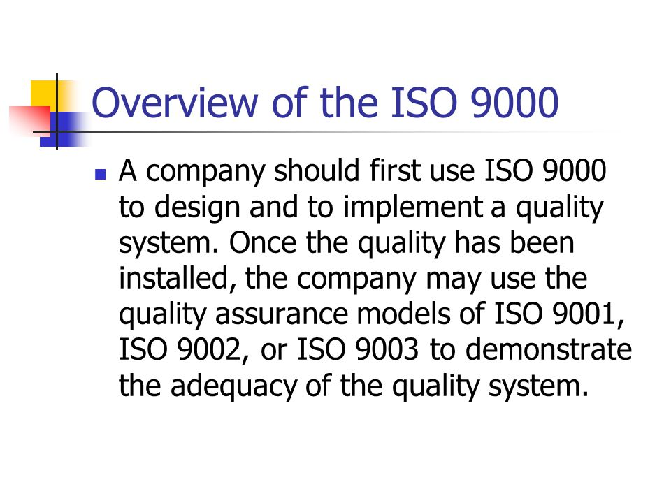 A company should first use ISO 9000 to design and to implement a quality system.