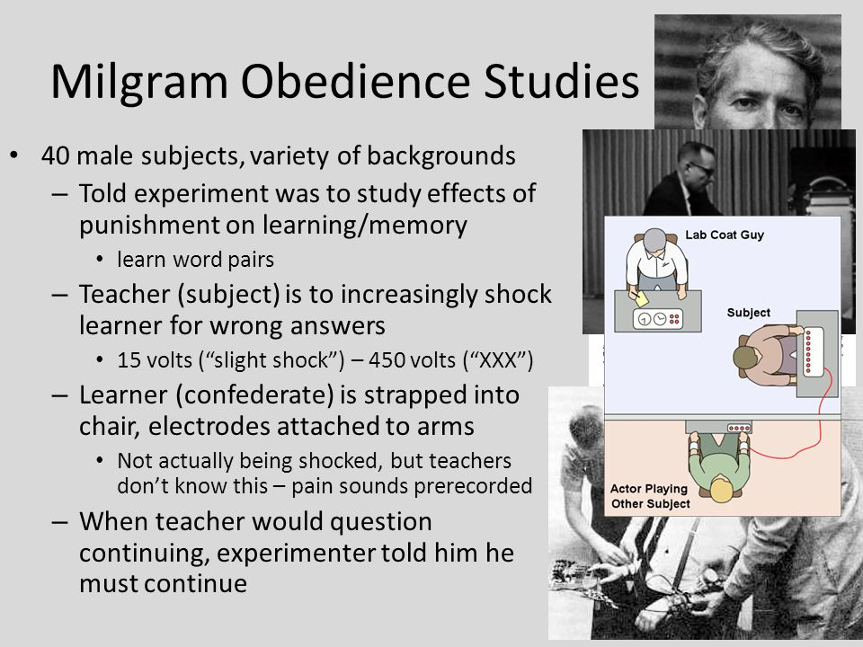 review of stanley milgrams experiments on obedience Drs stanley milgram and philip zimbardo conducted two of the most memorable, and frightening, studies in social science milgram's research, conducted at yale in 1961-1962, described as a study of obedience to authority by stanleymilgramcom, a website by dr thomas blass, a holocaust.