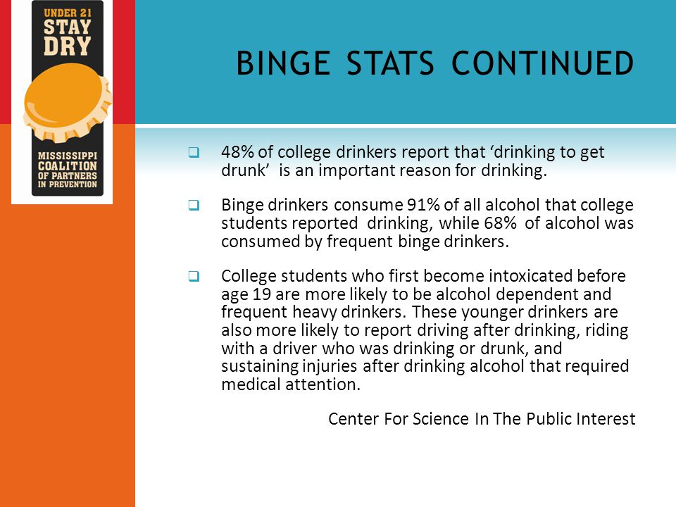 BINGE STATS CONTINUED  48% of college drinkers report that 'drinking to get drunk' is an important reason for drinking.