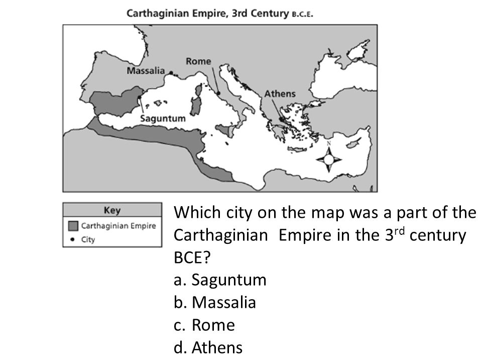 Which city on the map was a part of the Carthaginian Empire in the 3 rd century BCE.