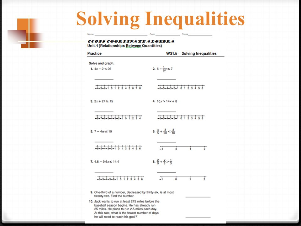 Solving Inequalities Pages Solving Inequalities Solving