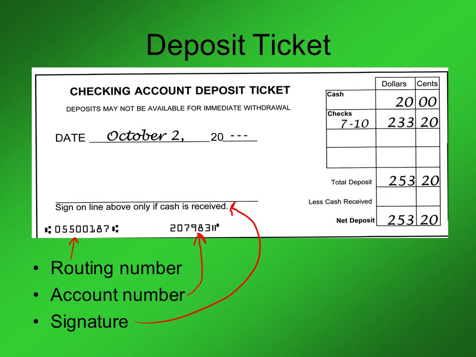 Deposit Ticket Routing number Account number Signature