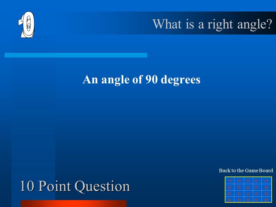 50 Point Question A polygon in which all sides and all angles are equal What is a regular polygon.