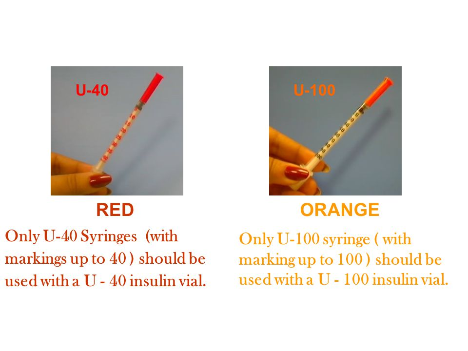 U-100 U-40 REDORANGE Only U-40 Syringes (with markings up to 40 ) should be used with a U - 40 insulin vial.