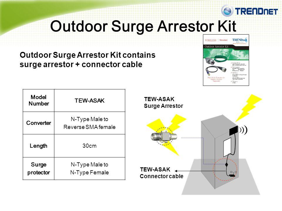 TRENDnet Outdoor Arrestor Kit TEW-ASAK Includes Reverse SMA to N-Type Converter