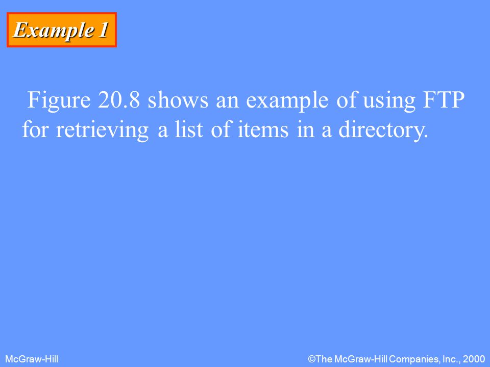 McGraw-Hill©The McGraw-Hill Companies, Inc., 2000 Example 1 Figure 20.8 shows an example of using FTP for retrieving a list of items in a directory.