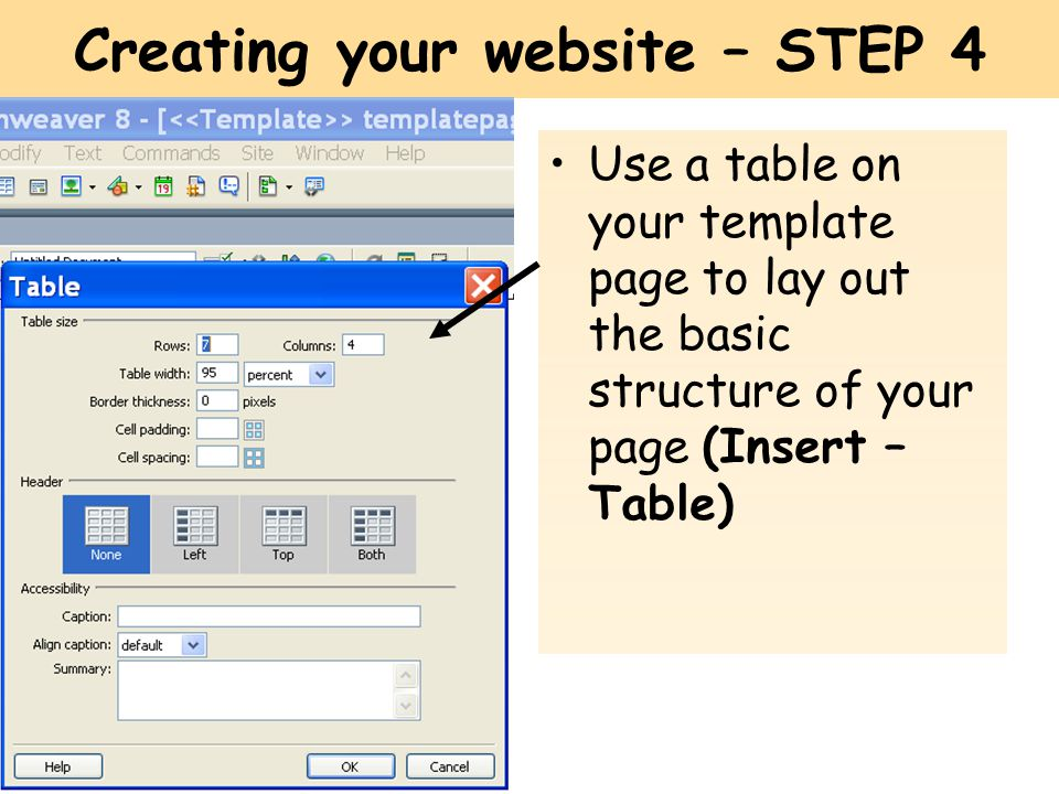 Creating your website – STEP 4 Use a table on your template page to lay out the basic structure of your page (Insert – Table)