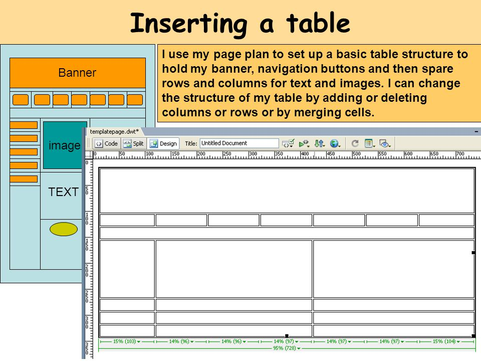 Inserting a table image Banner TEXT I use my page plan to set up a basic table structure to hold my banner, navigation buttons and then spare rows and columns for text and images.