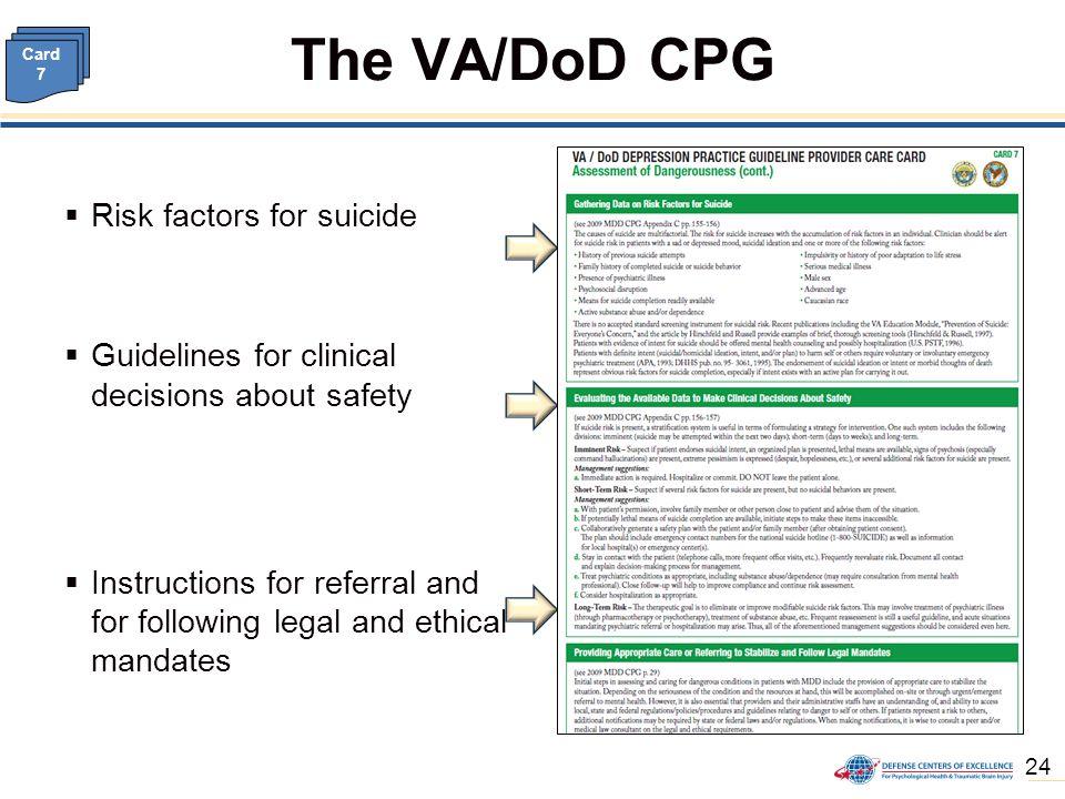 va dod clinical practice guideline for management of major rh slideplayer com Suicide Assessment Checklist ena clinical practice guidelines suicide risk assessment