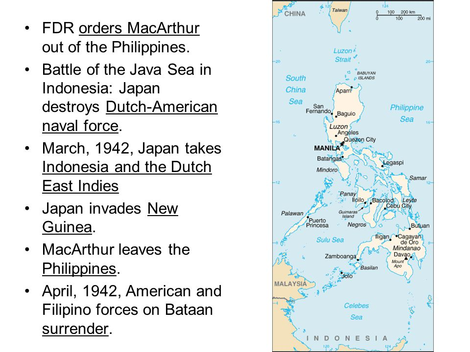 FDR orders MacArthur out of the Philippines.