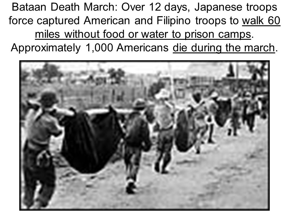 Bataan Death March: Over 12 days, Japanese troops force captured American and Filipino troops to walk 60 miles without food or water to prison camps.