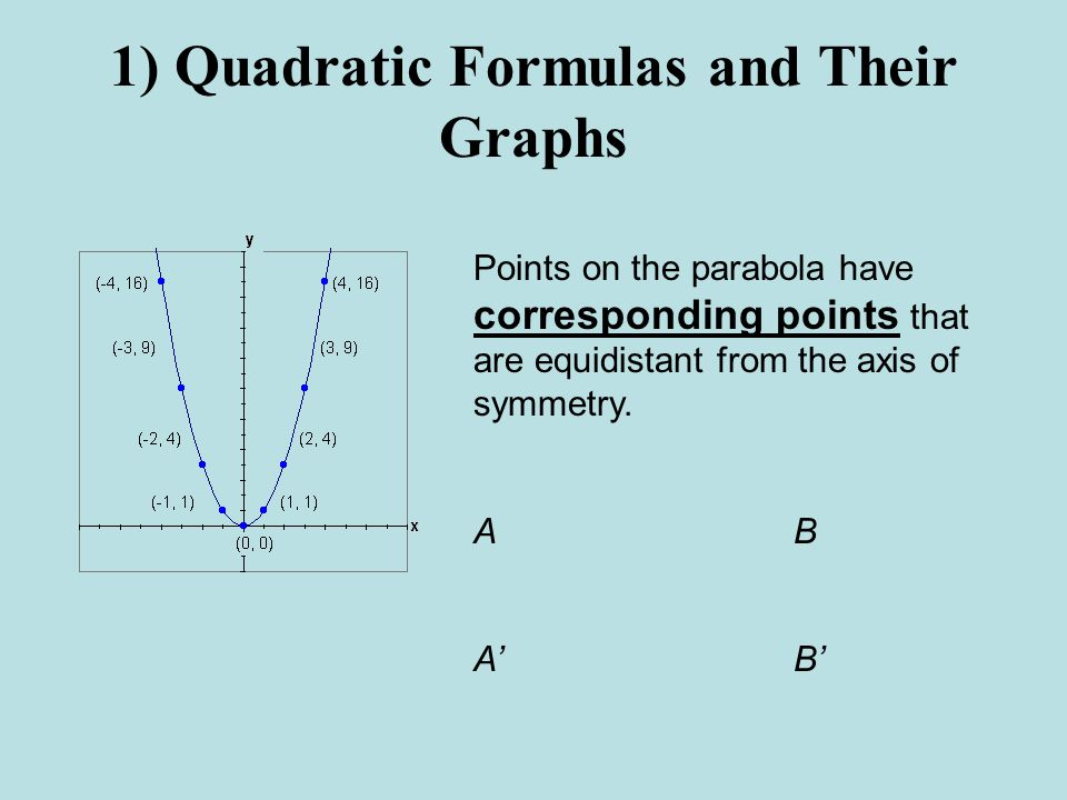 1) Quadratic Formulas and Their Graphs Points on the parabola have corresponding points that are equidistant from the axis of symmetry.