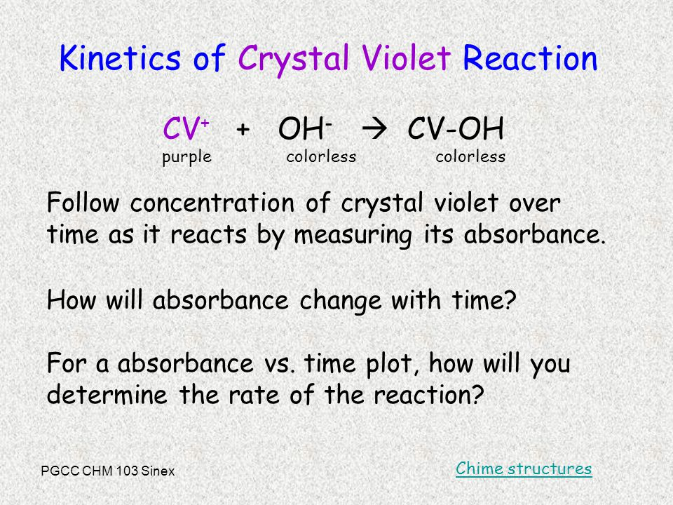 PGCC CHM 103 Sinex Kinetics of Crystal Violet Reaction CV + + OH -  CV-OH purple colorless colorless Follow concentration of crystal violet over time as it reacts by measuring its absorbance.