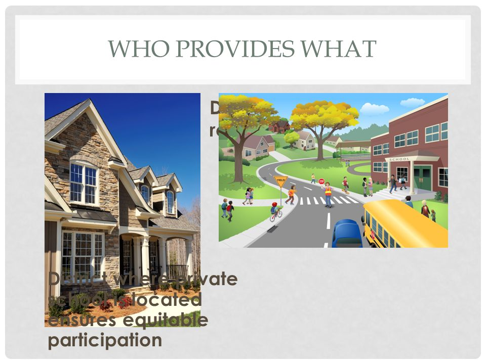 WHO PROVIDES WHAT District where child resides provides FAPE District where private school is located ensures equitable participation