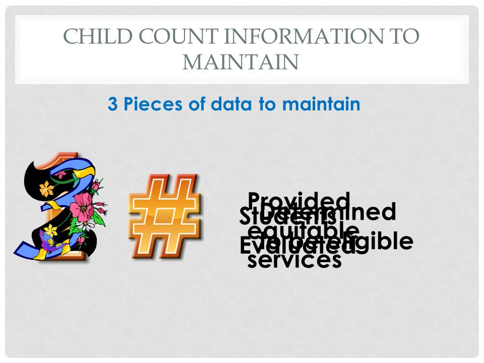 CHILD COUNT INFORMATION TO MAINTAIN Students Evaluated Determined to be eligible Provided equitable services 3 Pieces of data to maintain