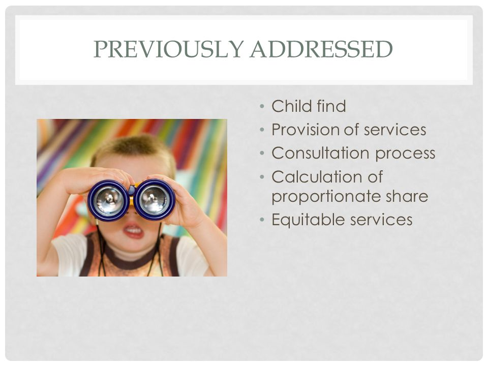 PREVIOUSLY ADDRESSED Child find Provision of services Consultation process Calculation of proportionate share Equitable services