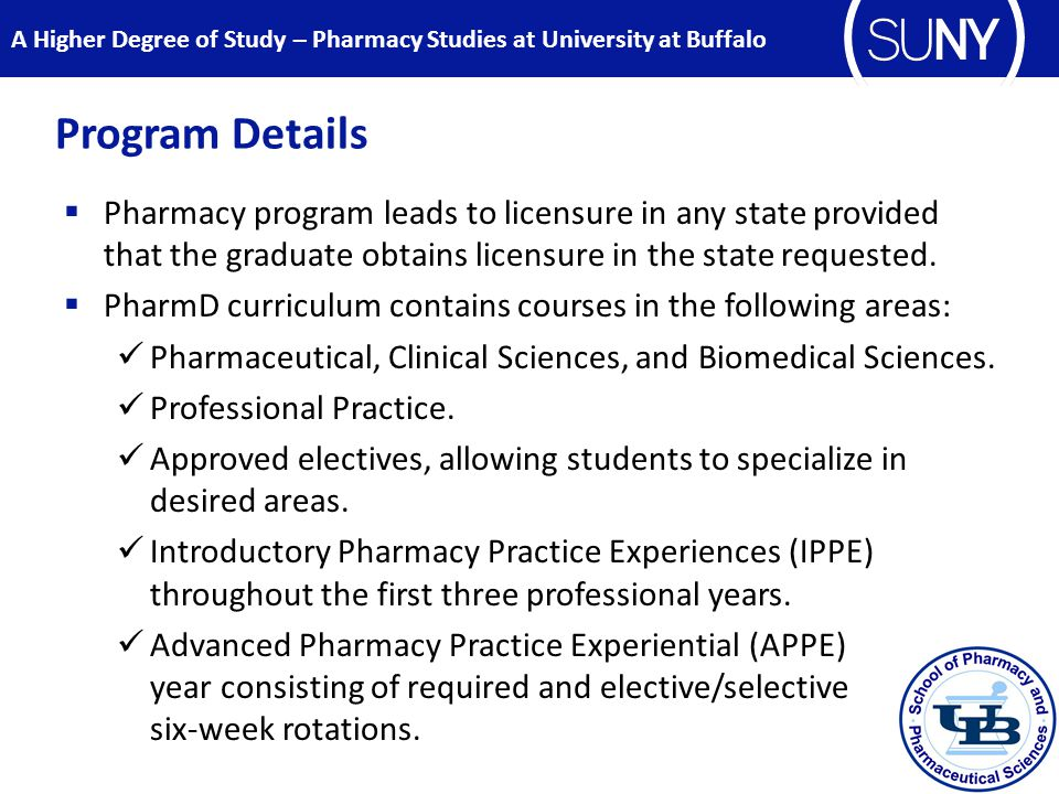 Program Details  Pharmacy program leads to licensure in any state provided that the graduate obtains licensure in the state requested.