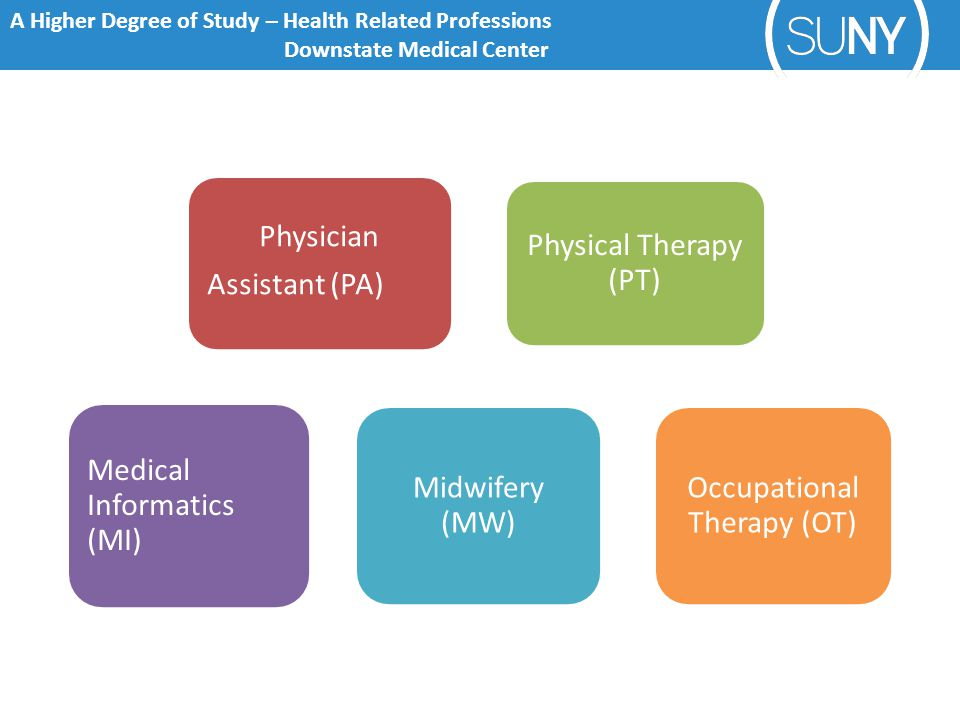 A Higher Degree of Study – Health Related Professions Downstate Medical Center Physician Assistant (PA) Physical Therapy (PT) Medical Informatics (MI) Midwifery (MW) Occupational Therapy (OT)