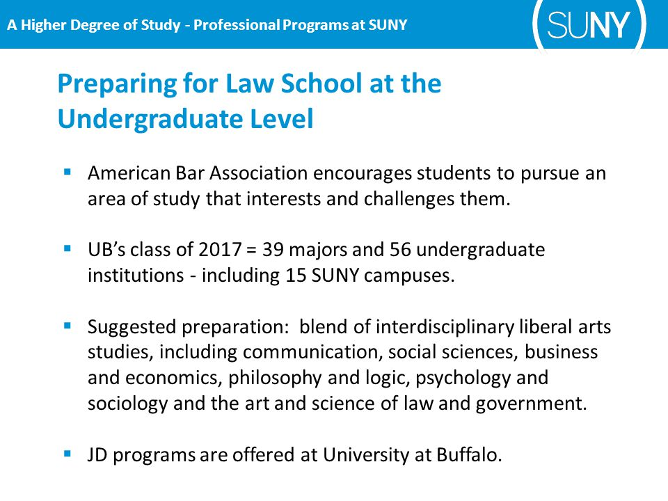 Preparing for Law School at the Undergraduate Level  American Bar Association encourages students to pursue an area of study that interests and challenges them.