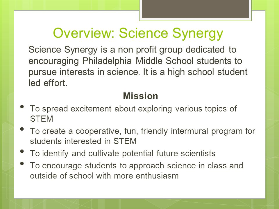 Science Synergy Science + Fun + Team Spirit Proposal for a