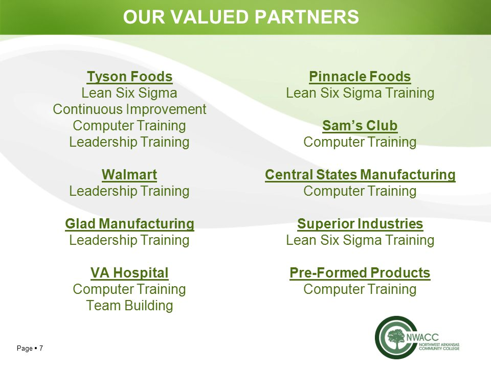 Page  7 OUR VALUED PARTNERS Tyson Foods Lean Six Sigma Continuous Improvement Computer Training Leadership Training Walmart Leadership Training Glad Manufacturing Leadership Training VA Hospital Computer Training Team Building Pinnacle Foods Lean Six Sigma Training Sam's Club Computer Training Central States Manufacturing Computer Training Superior Industries Lean Six Sigma Training Pre-Formed Products Computer Training
